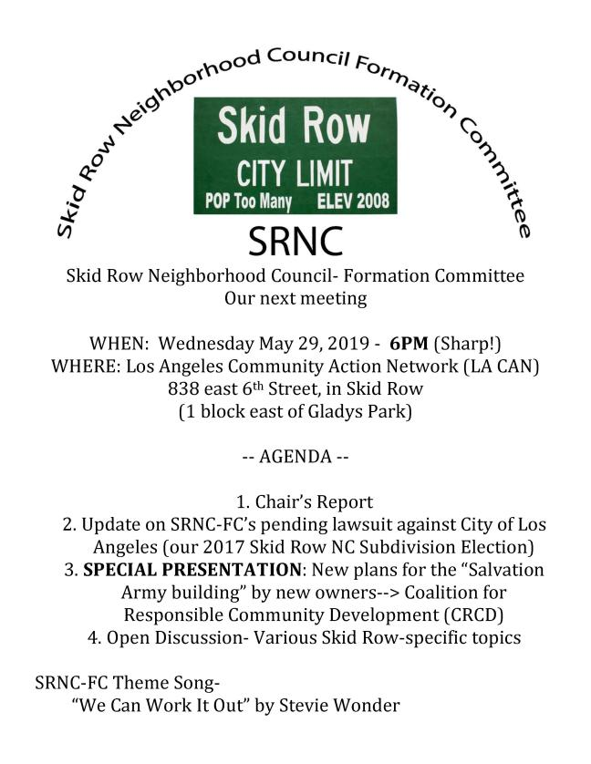 SRNC-FC- Agenda- May 29th 2019-1A